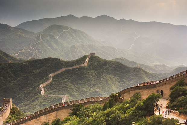 Golden light over the Great Wall of China